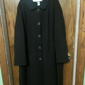Elegant long, black winter coat